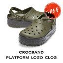【クロックス crocs レディース】crocband platform logo clog/クロックバンド プラットフォーム ロゴ クロッグ