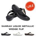 ●【クロックス crocs レディース】sanrah liquid metallic wedge flip/サンラ リキッド メタリック ウェッジ フリップ ウィメン