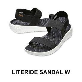 【クロックス crocs レディース】literide sandal/ライトライド サンダル/ブラックxホワイト