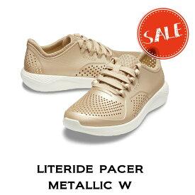 【クロックス crocs レディース s】literide pacer metallic w/ライトライド ペイサー メタリック ウィメン