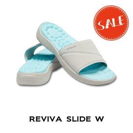 【クロックス crocs レディース】reviva slide w/リバイバ スライド ウィメン/パールホワイトxパールホワイト