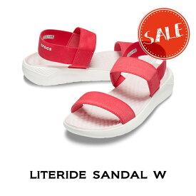 【クロックス crocs レディース】literide sandal/ライトライド サンダル/ポピーxホワイト