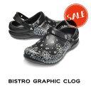 ◇【クロックス crocs w】bistro graphic clog/ビストロ グラフィック クロッグ ホワイトxブラック/メンズ レディース
