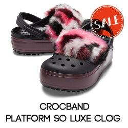【クロックスcrocsレディース】crocbandplatformsoluxeclog/クロックバンドプラットフォームソーラックスクロッグ