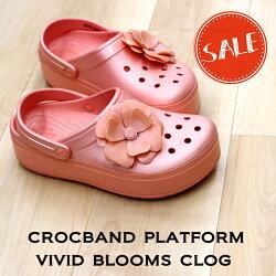 【クロックスcrocsレディース】crocbandplatformvividbloomsclog/クロックバンドプラットフォームヴィヴィッドブルームズクロッグ