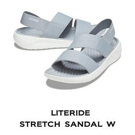 【クロックス crocs レディース】literide stretch sandal/ライトライド ストレッチ サンダル /ライトグレーxホワイト/30%OFF