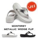 【クロックス crocs レディース】monterey metallic wedge flip/モントレー メタリック ウェッジ フリップ ウィメン
