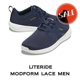 【クロックス crocs メンズ S】literide modform lace men/ライトライド モドフォーム レース メン/ネイビーxホワイト