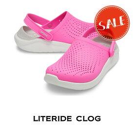 【クロックス crocs メンズ レディース】Literide Clog/ライトライド クロッグ/E.ピンクxAホワイト