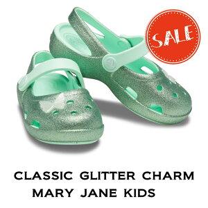【クロックス crocs キッズ】classic glitter charm mary jane kids/クラシック グリッター チャーム メリージェーン キッズ