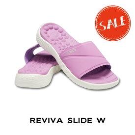 【クロックス crocs レディース】reviva slide w/リバイバ スライド ウィメン/ヴァイオレットxホワイト