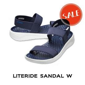 【クロックス crocs レディース】literide sandal/ライトライド サンダル/ネイビーxホワイト