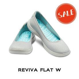 【クロックス crocs レディース】reviva flat/リバイバ フラット ウィメン/ライトグレーxパールホワイト