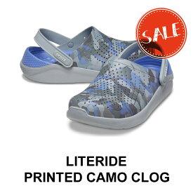 【クロックス crocs メンズ レディース】Literide Printed Camo Clog/ライトライド プリンテッド カモ クロッグ/ラピスxマルチ