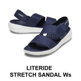 【クロックス crocs レディース】literide stretch sandal/ライトライド ストレッチ サンダル/ネイビーxホワイト