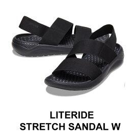 【クロックス crocs レディース】literide stretch sandal/ライトライド ストレッチ サンダル/ブラックxブラック