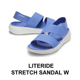 【クロックス crocs レディース】literide stretch sandal/ライトライド ストレッチ サンダル/ラピスxホワイト