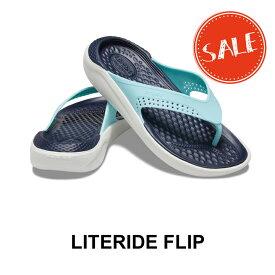 【クロックス crocs メンズ レディース】LiteRide Flip/ライトライド フリップ/アイスブルーxオルモストホワイト