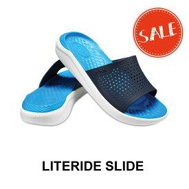 【クロックス crocs メンズ レディース】LiteRide Slide/ライトライド スライド/ネイビーxホワイト