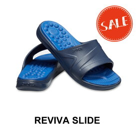 【クロックス crocs メンズ レディース】reviva slide/リバイバ スライド/ネイビーxブルージーン