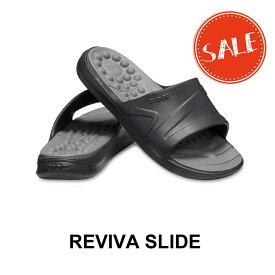 【クロックス crocs メンズ レディース】reviva slide/リバイバ スライド/ブラックxスレートグレー