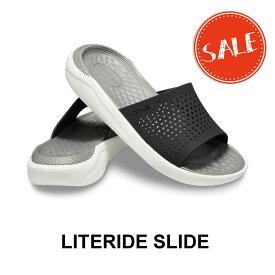 【クロックス crocs メンズ レディース】LiteRide Slide/ライトライド スライド/ブラックxスモーク