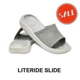 【クロックス crocs メンズ レディース】literide slide/ライトライド スライド/スモークxパールホワイト