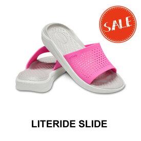 【クロックス crocs メンズ レディース】literide slide/ライトライド スライド/エレクトリックピンクxA.ホワイト