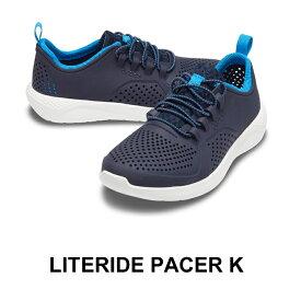 【クロックス crocs キッズ】Literide pacer Kids/ライトライド ペーサー キッズ/ネイビーxホワイト