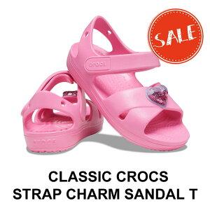 【クロックス crocs キッズ】Classic Cross Strap Charm Sandal T/クラシック クロス ストラップ チャーム サンダル T/ピンクレモネード