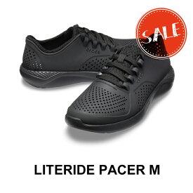 【クロックス crocs メンズ S】literide pacer men/ライトライド ペイサー メン/ブラックxブラック