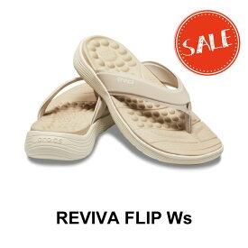 【クロックス crocs レディース】reviva flip w/リバイバ フリップ ウィメン/カブルストーンxスタッコ