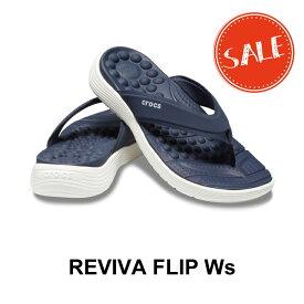 【クロックス crocs レディース】reviva flip w/リバイバ フリップ ウィメン/ネイビーxホワイト