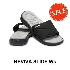 【クロックス crocs レディース】reviva slide w/リバイバ スライド ウィメン/ブラックxブラック