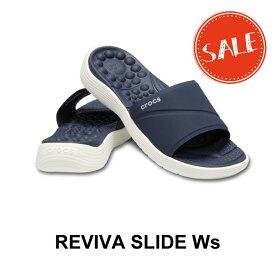 【クロックス crocs レディース】reviva slide w/リバイバ スライド ウィメン/ネイビーxホワイト