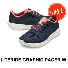 【クロックス crocs レディース s】literide graphic pacer w/ライトライド グラフィック ペイサー ウィメン/ネイビーxホワイト