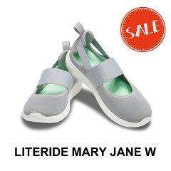 【クロックスcrocsレディースb】literidemaryjane/ライトライドメリージェーン/ライトグレーxホワイト