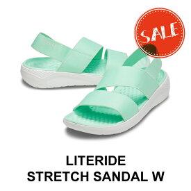 【クロックス crocs レディース】literide stretch sandal/ライトライド ストレッチ サンダル/ネオミントxオールモストホワイト