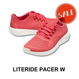 【クロックス crocs レディース s】literide pacer w/ライトライド ペイサー ウィメン/ポピーxホワイト