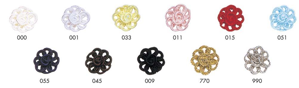 コードフラワーレーヨン紐を使用して作った花モチーフです。(※この商品は10ヶ単位での販売です。ご了承ください。)