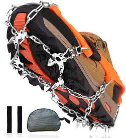 【送料無料】アイゼン 19本爪 チェーンスパイク ステンレス製 シュタイクアイゼン 滑り止め 雪山 雪道 登山 氷釣り ハイキング 簡単装着 収納袋付き 男女兼用