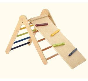 おもちゃジム すべり台付き ジャングルジム 木製 折りたたみ 室内 天然木 パイン材 角丸 仕上げ 軽量 頑丈 ナチュラル