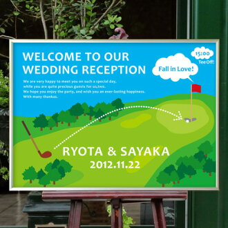 And aluminum frame welcome Board Golf and weddings welcome Board
