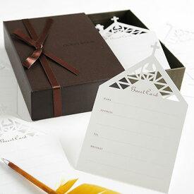 ボックス型カード式芳名帳 ベルテ(チャペル芳名カード50枚入)/結婚式芳名帳ゲストブック