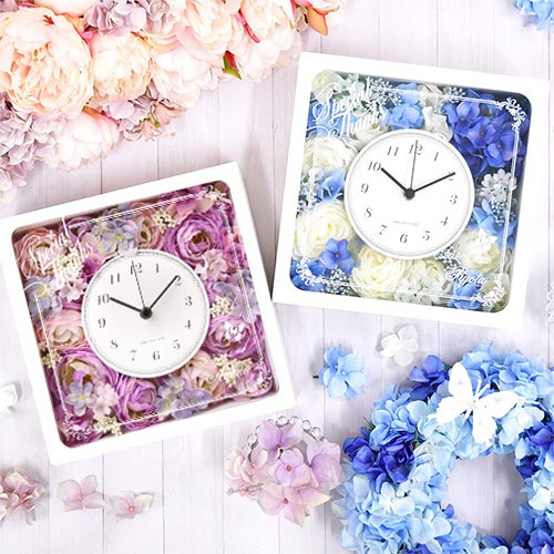 【国産時計】「エリーナ」花時計|結婚式ご両親へのプレゼント