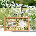 [選べるフラワーアレンジ]ナチュラル花時計フォトフレーム付【木製無垢材】 | 両親へのプレゼント 結婚式