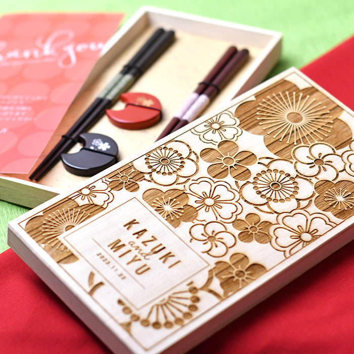 名入れ桐箱 夫婦箸&箸置きセット/結婚式両親へのプレゼント