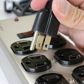 レトロアメリカン おしゃれ デザイン 延長コード 電源タップ 6個口 OAタップ コンセント スイッチ スチール 鉄 シルバー 電源ケーブル 延長ケーブル プラグ 雷サージガード コード長 1.8m
