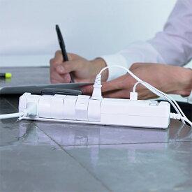 <送料無料>楽天スーパーSALE対象商品 電源タップ おしゃれ インテリア デザイン 回転 ロータリー ホワイト AC6個口 3.4A 急速充電 USB ブレーカー 機能 スイッチ 延長コード 延長ケーブル コンセント 電源ケーブル テーブルタップ 電気コード 雷サージ 雷ガード 1.8m