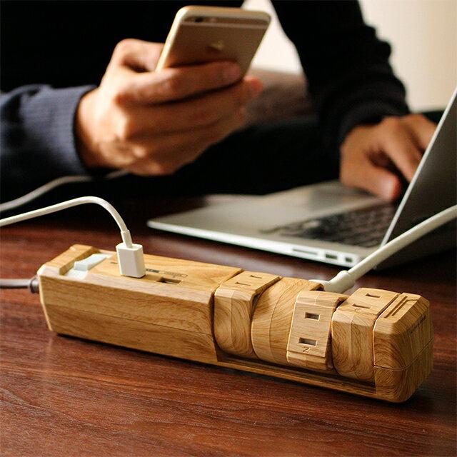 【お買い物マラソン 9/26 10:59マデ】2.4A USB急速充電 木目調 おしゃれ 電源タップ OAタップ スイッチ インテリア デザイン 延長ケーブル コード 1.8m 雷サージガード TAPKING USB PT604BEWD